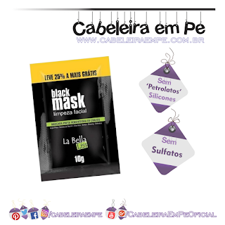 Máscara de Limpeza Facial Black Mask - La Bella Liss (Sem Petrolatos, Sem Silicones e sem Sulfatos) 'No Poo' para pele