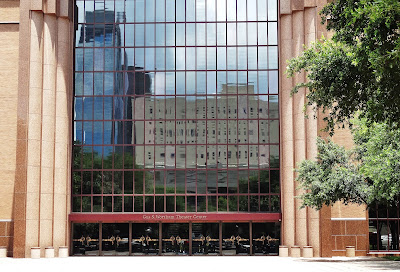 The Wortham Theater Center frontal view of grand entrance from the plaza