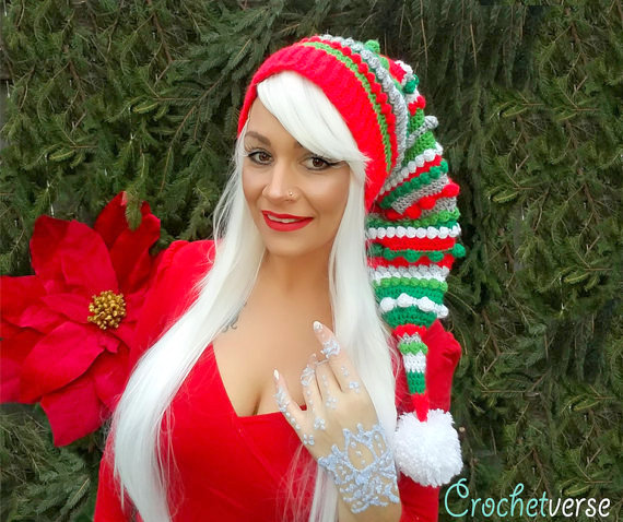 long christmas hat crochet pattern