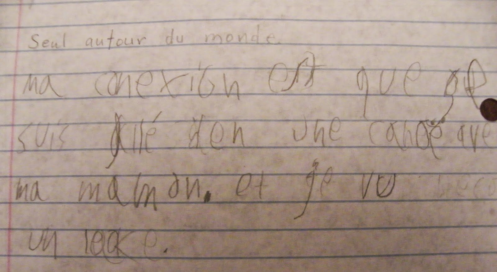Writing a journal entry in french