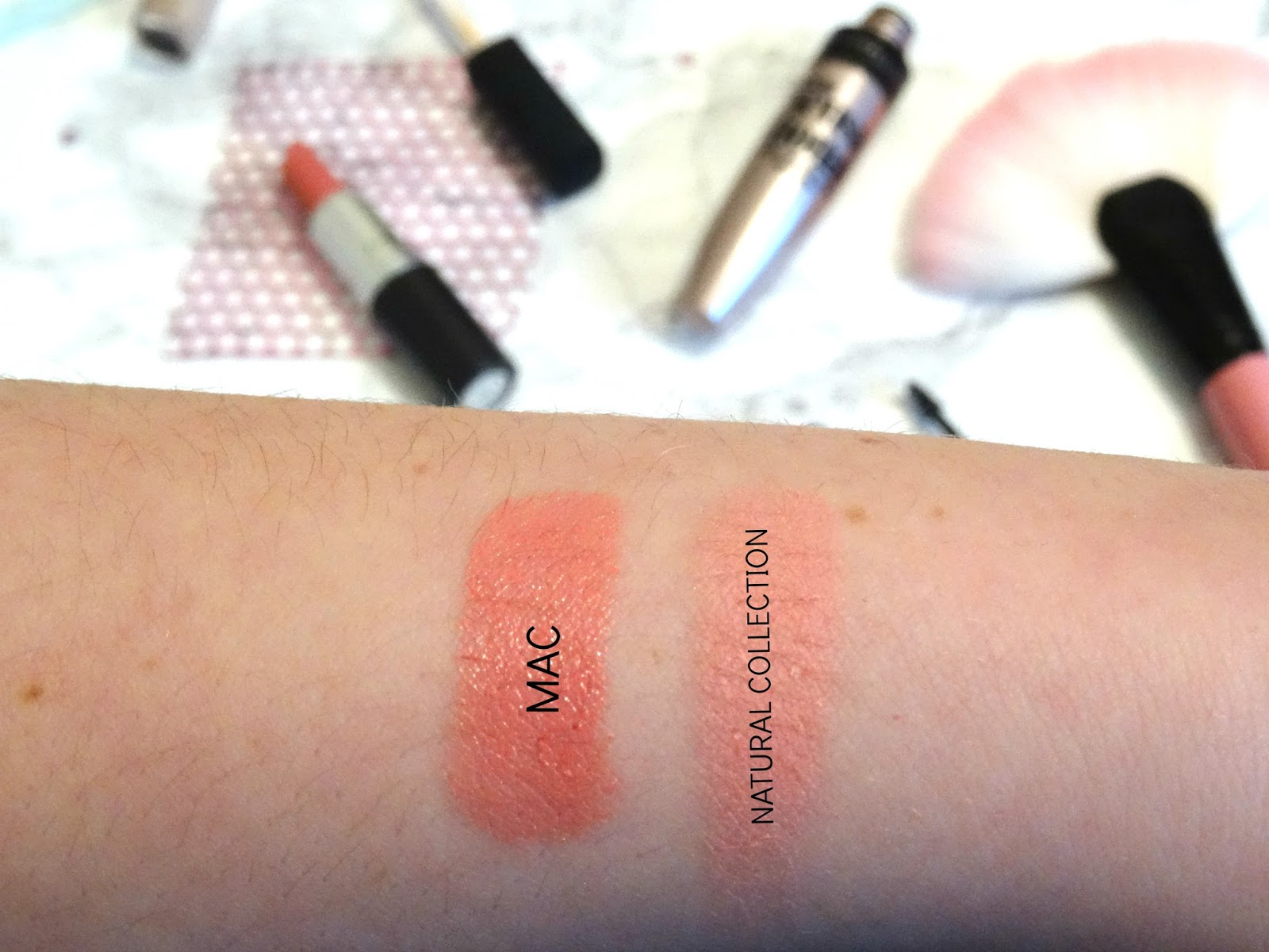Mac Lipstick in Angel and Natural Collection Blush Swatched