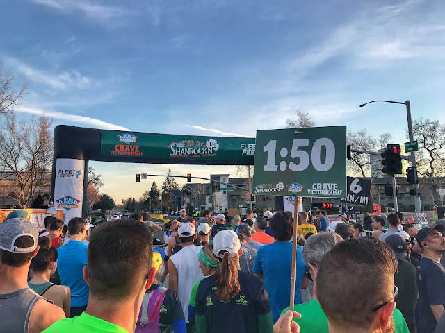 Start line Shamrock'n Half and by the 1:50 pacer