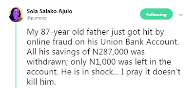 87-year Old Man In Shock After Been Left With N1k From N287,000 Through Online Fraud