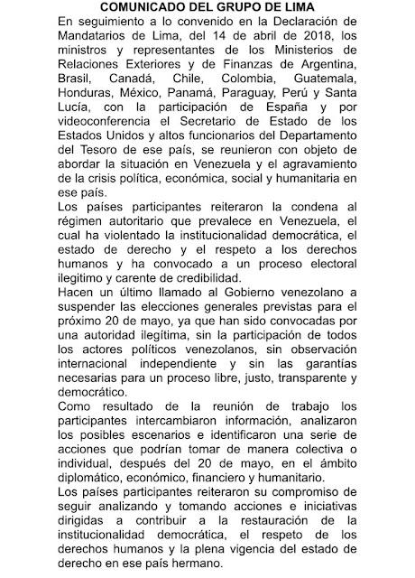 """Grupo de Lima hizo un """"último llamado"""" a suspender las elecciones en Venezuela"""