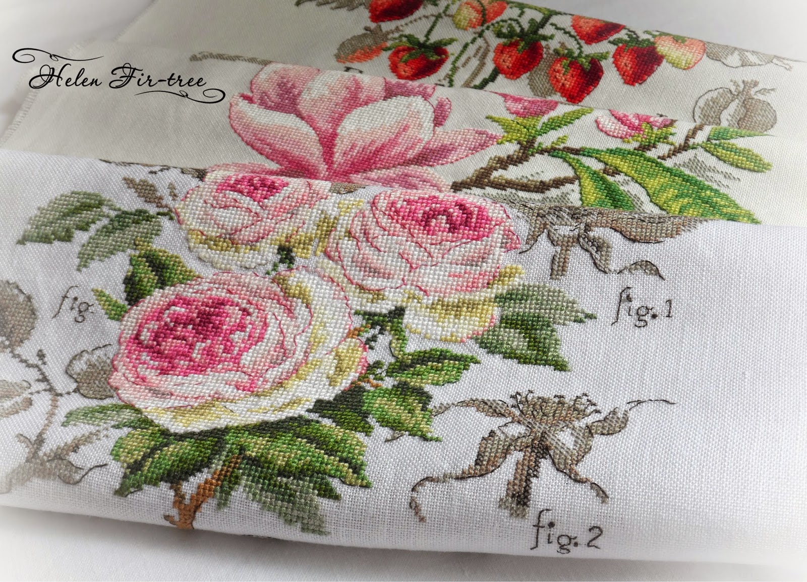 Helen Fir-tree вышивка крестом розы V. Enginger stitch roses  V. Enginger