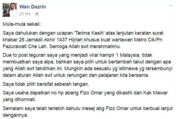 Ditegur Da'i Wan Dazrin, Ini Jawapan Fareeda