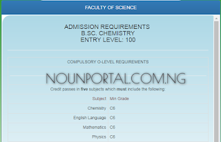 NOUN Admission Requirements - B.Sc. Chemistry Faculty of Science