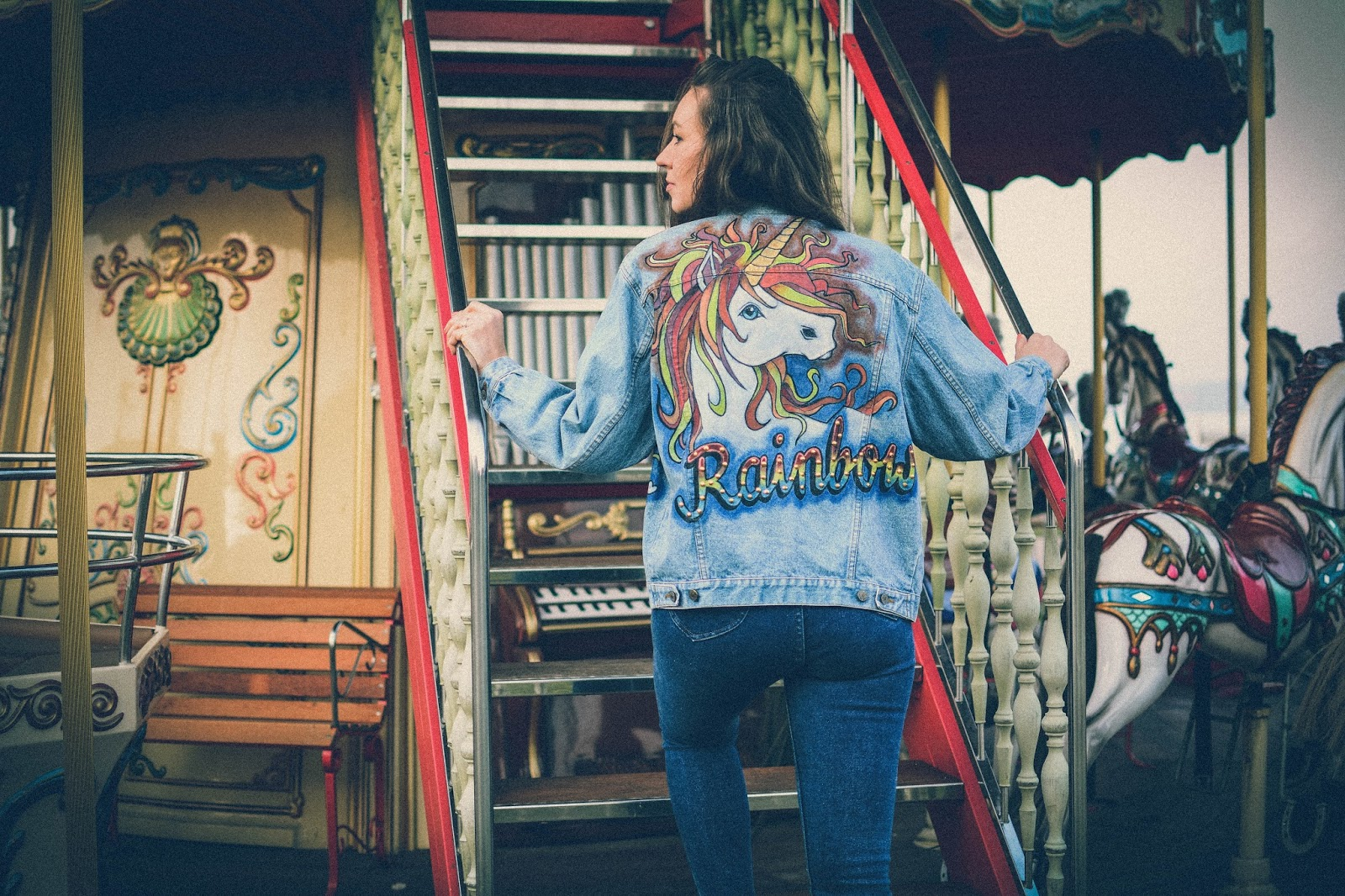 colored jacket with a unicorn