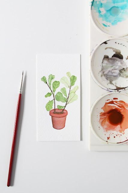 watercolor, watercolor houseplant, houseplant portrait, fiddle leaf fig, Anne Butera, My Giant Strawberry