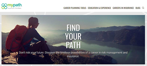 Snapshot from MyPath web home page.  Young woman sitting on top of a mountain.  Text: Find Your Path