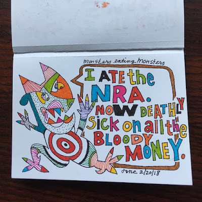 I ate the NRA. Now deathly sick on all the bloody money.