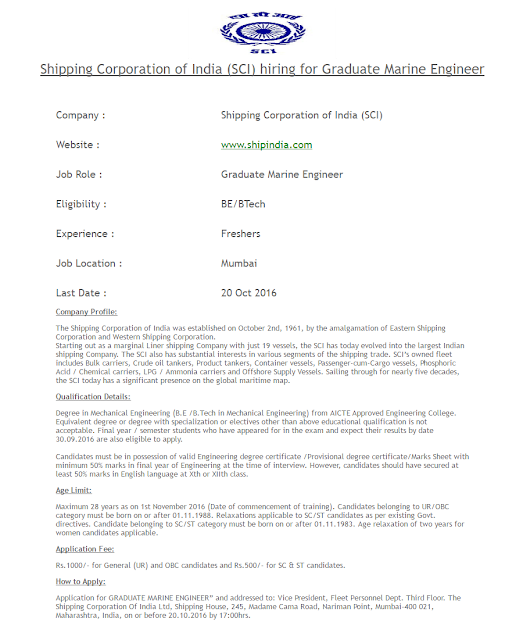 Shipping Corporation of India Hiring