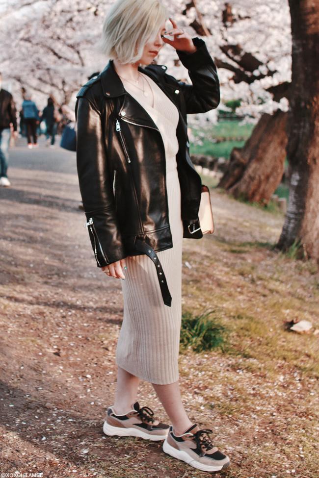 Japanese Fashion blogger,MizuhoK,20190406, ZARA=biker jacket,Sneakers,bag, Dresslily= knir set, Bershka=medal necklace, Shashi=Horn necklace
