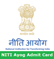 NITI Ayog Admit Card