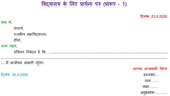 आवेदन पत्र (Application), Avedan Patra / Prarthna Patra - Praroop & RoopRekha