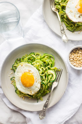 Zucchini Noodles with Everything Pesto and Fried Eggs from Food Faith Fitness featured for Low-Carb Recipe Love on Fridays (8-12-16) found on KalynsKitchen.com