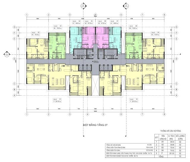 Mặt bằng tầng 27 dự án Del Dorado Phú Thanh