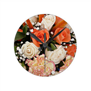 Orange roses wall clock