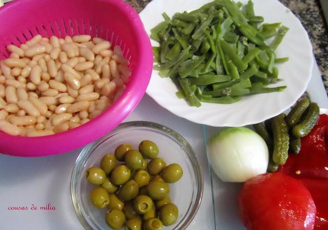 Ensalada de alubias y judías verdes