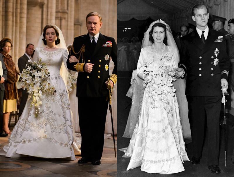 Comparación de la boda de Isabel II en la realidad y en la ficción.