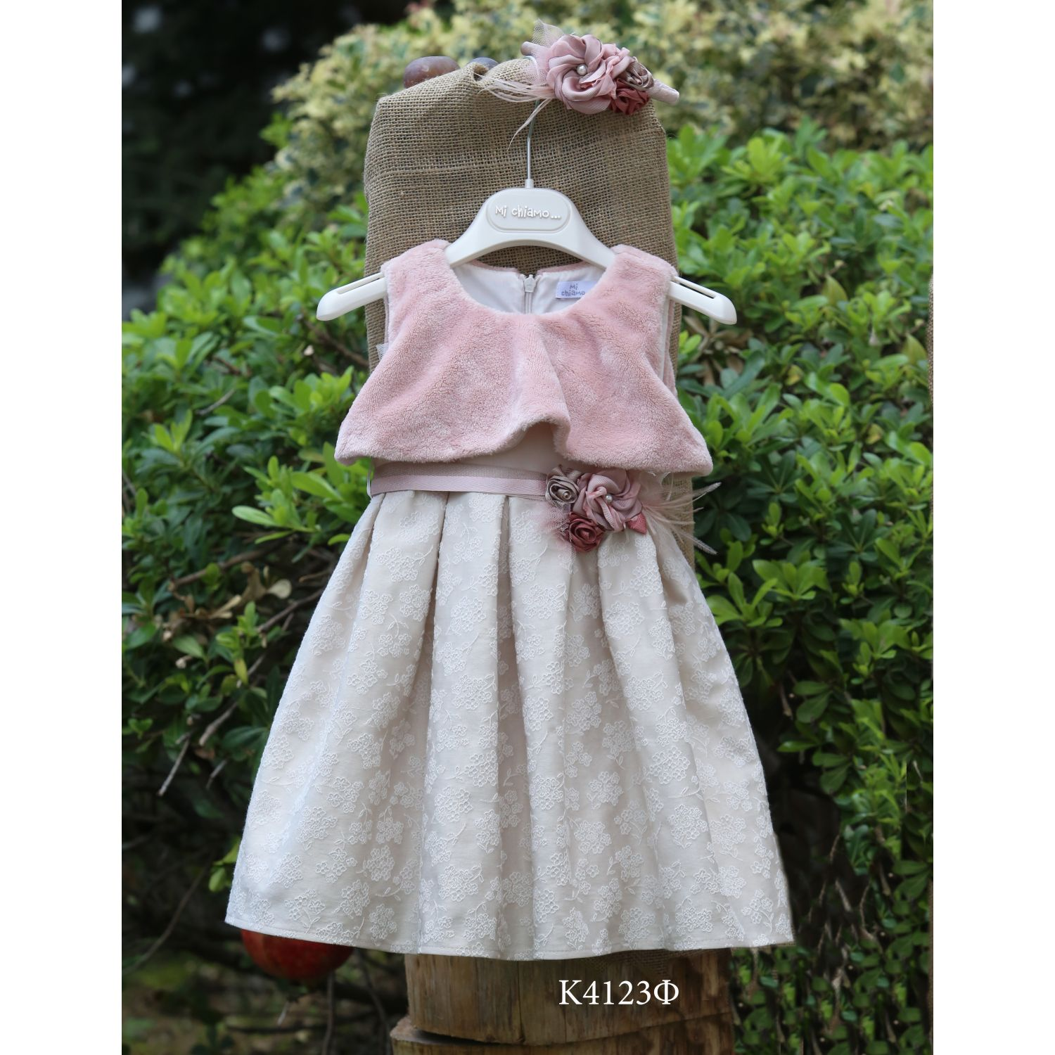 Greek christening dress with fur and lace K123f