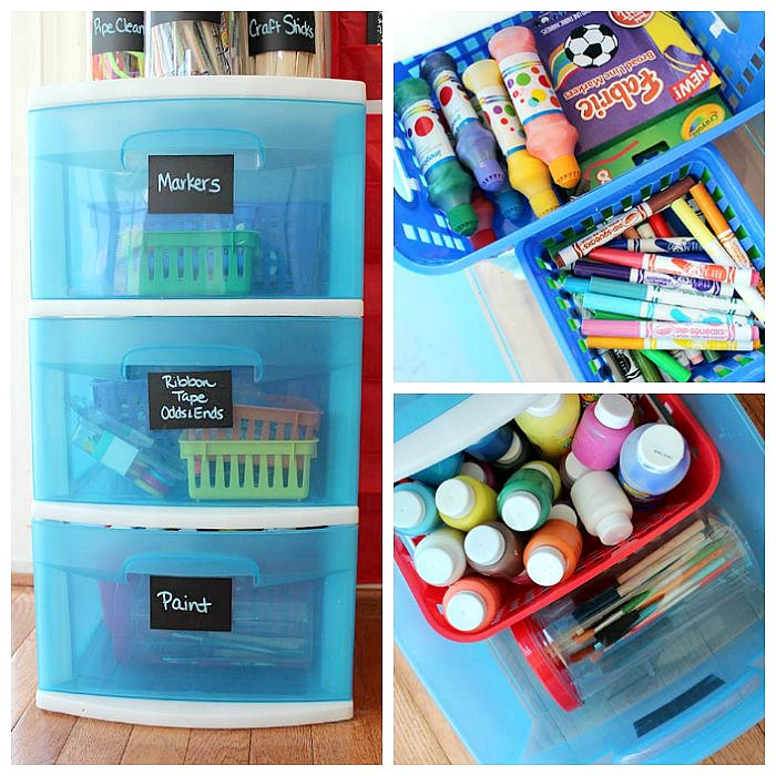 How to organize kids art supplies in a small space sunny for How to store craft supplies