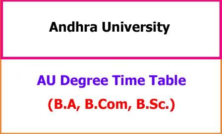 AU Degree Exam Time Table