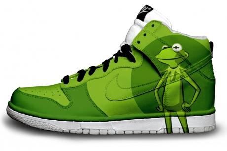 big sale 02979 2435e Nike SB Dunk Kermit the Frog High Tops Shoes Cute Pattern Muppets