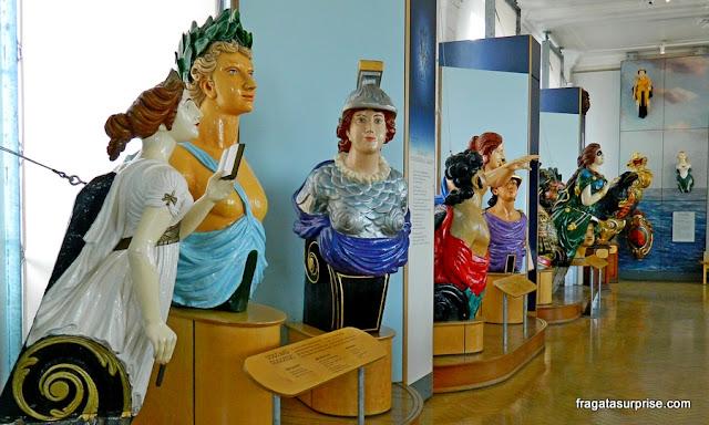 Coleção de figuras de proa do Museu da Royal Navy em Portsmouth