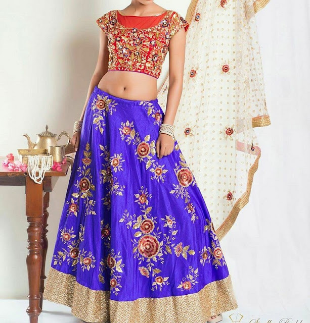 Blue Rosw Bunches Lehenga