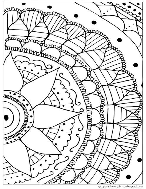 flower doodle design adult coloring page