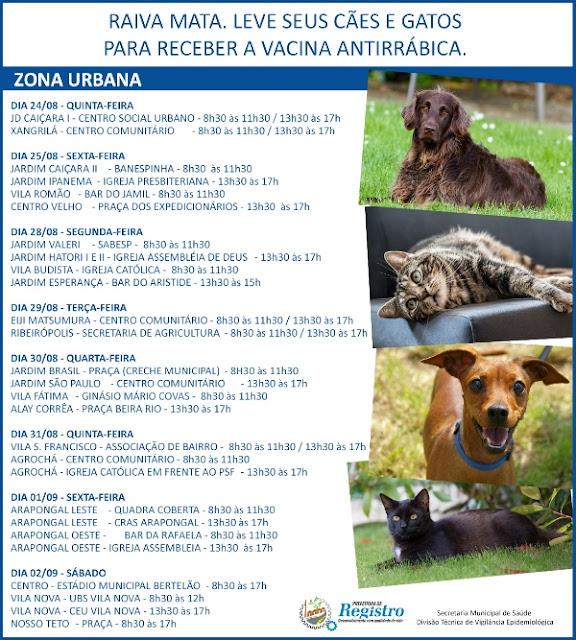 Em Registro-SP, Campanha de Vacinação Antirrábica começa dia 15 de agosto pela zona rural