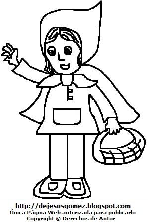 Dibujo fácil de Caperucita Roja con su canasta y capa para colorear, pintar e imprimir. Dibujo de la Caperucita Roja  de Jesus Gómez