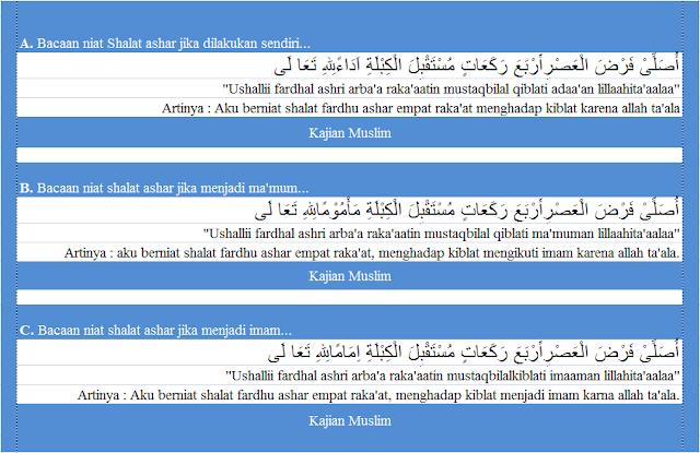 niat shalat fardhu ashar arab latin lengkap dengan terjemaahannya