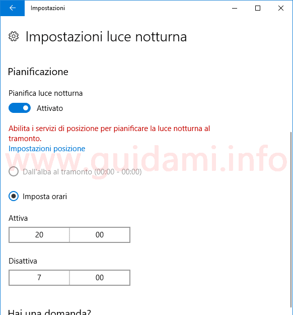 Windows 10 pianificazione modalità Luce notturna