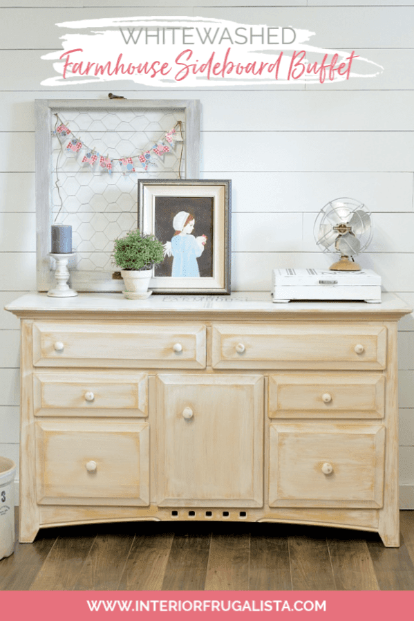 Whitewashed Farmhouse Sideboard Buffet Makeover