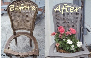 Eclectic Red Barn: Upcycled chair into planter