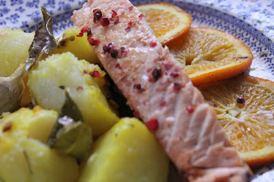 salmon with orange and pink peppercorns