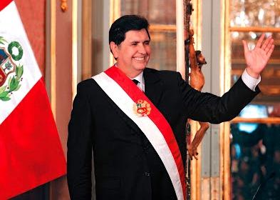 Foto de Alan García Pérez cuando era presidente del Perú
