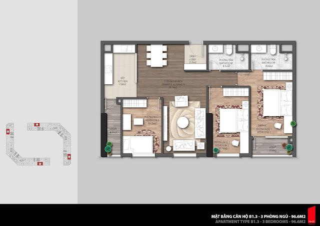 Thiết kế căn B1.3 - 96,6m2 chung cư The Emerald