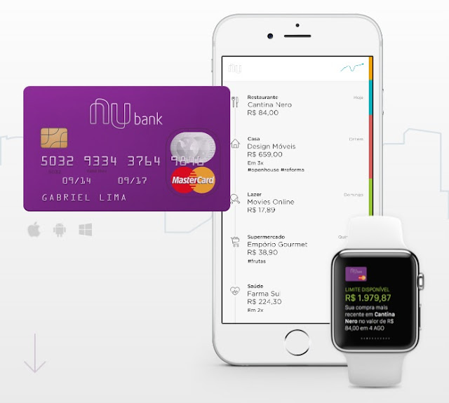 Cartão Nubank roxo com aplicativo para iPhone e Apple Watch