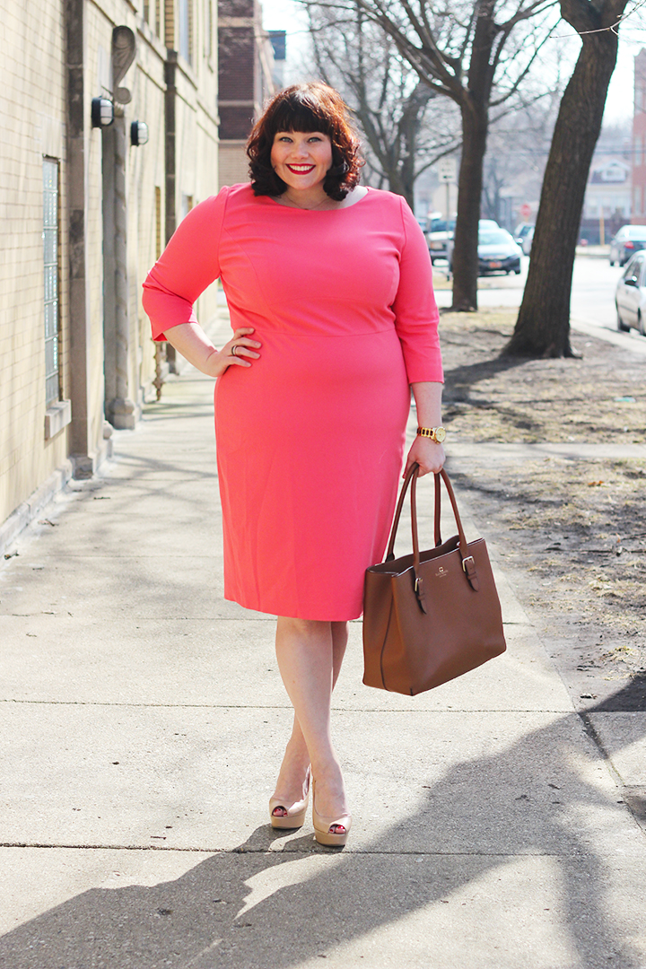 Girlboss Ootd Coral Plus Size Sheath Dress