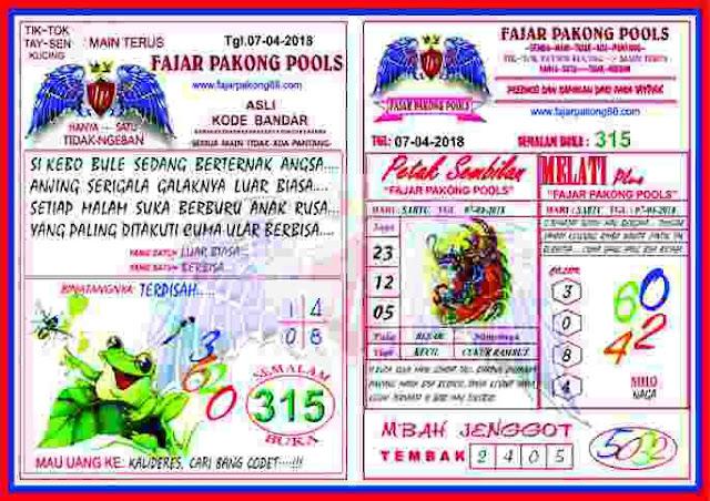 Syair Kode Fajar Pakong Pools 07 April 2019