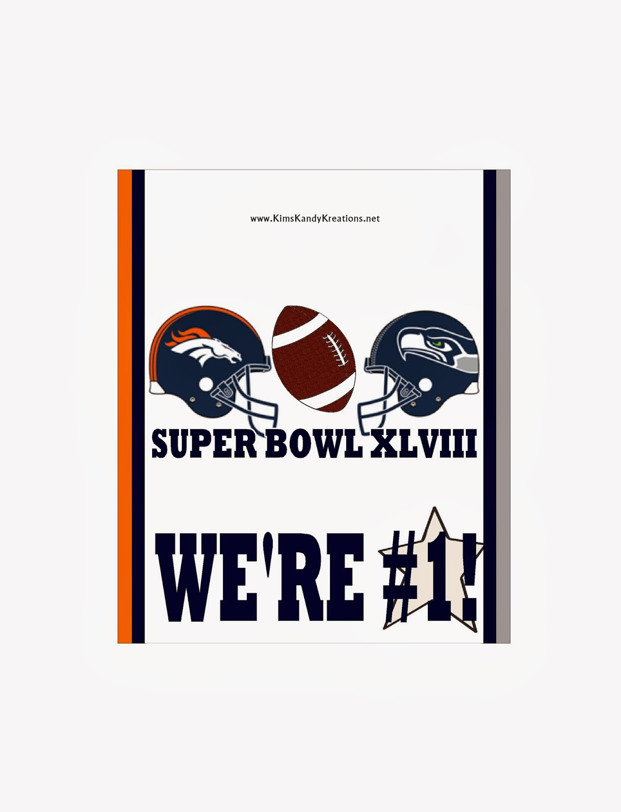 Super bowl football candy bar free printable by Kims Kandy Kreations
