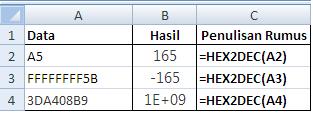 contoh penggunaan rumus fungsi hex2dex excel