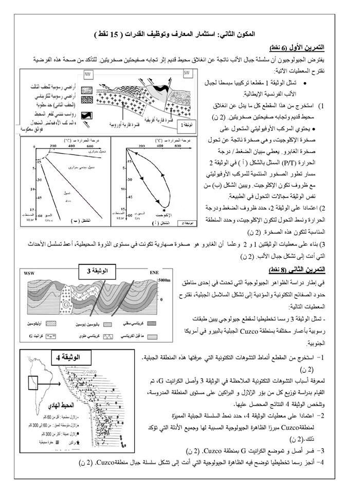 الفرض المحروس رقم3 الدورة الثانية مادة علوم الحياة و الارض-الجيولوجيا-باك
