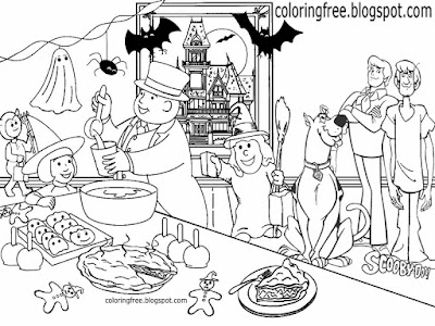 Kids cartoon drawing Shaggy and Scooby Doo coloring in happy Halloween party printable spooky Island