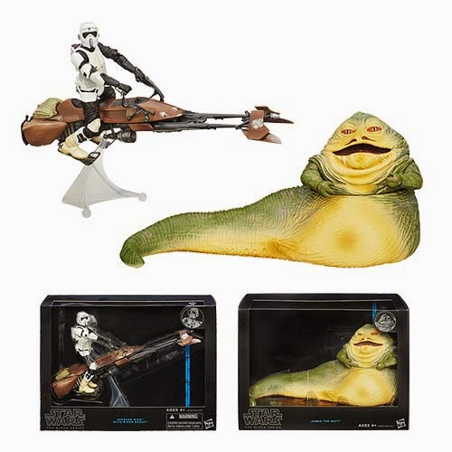 "Star Wars Deluxe Black Series Wave 1 6"" Action Figures - Jabba the Hutt and Speeder Bike with Biker Scout"