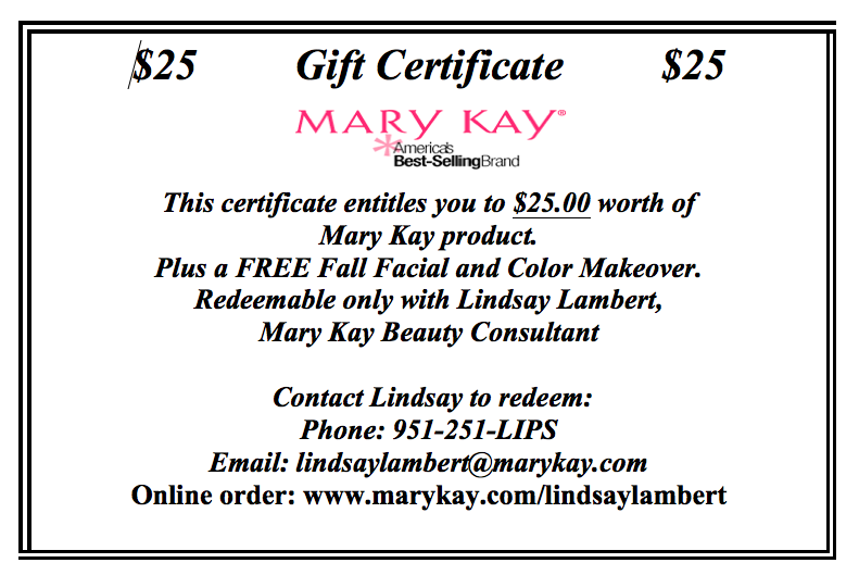 Kay Mary Certificates Online Gift
