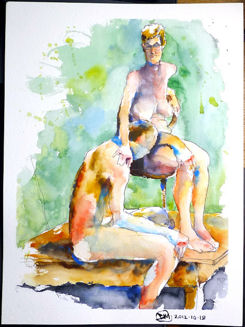 Male and female nude watercolour study by David Meldrum